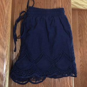 Laced bottom navy dress shorts